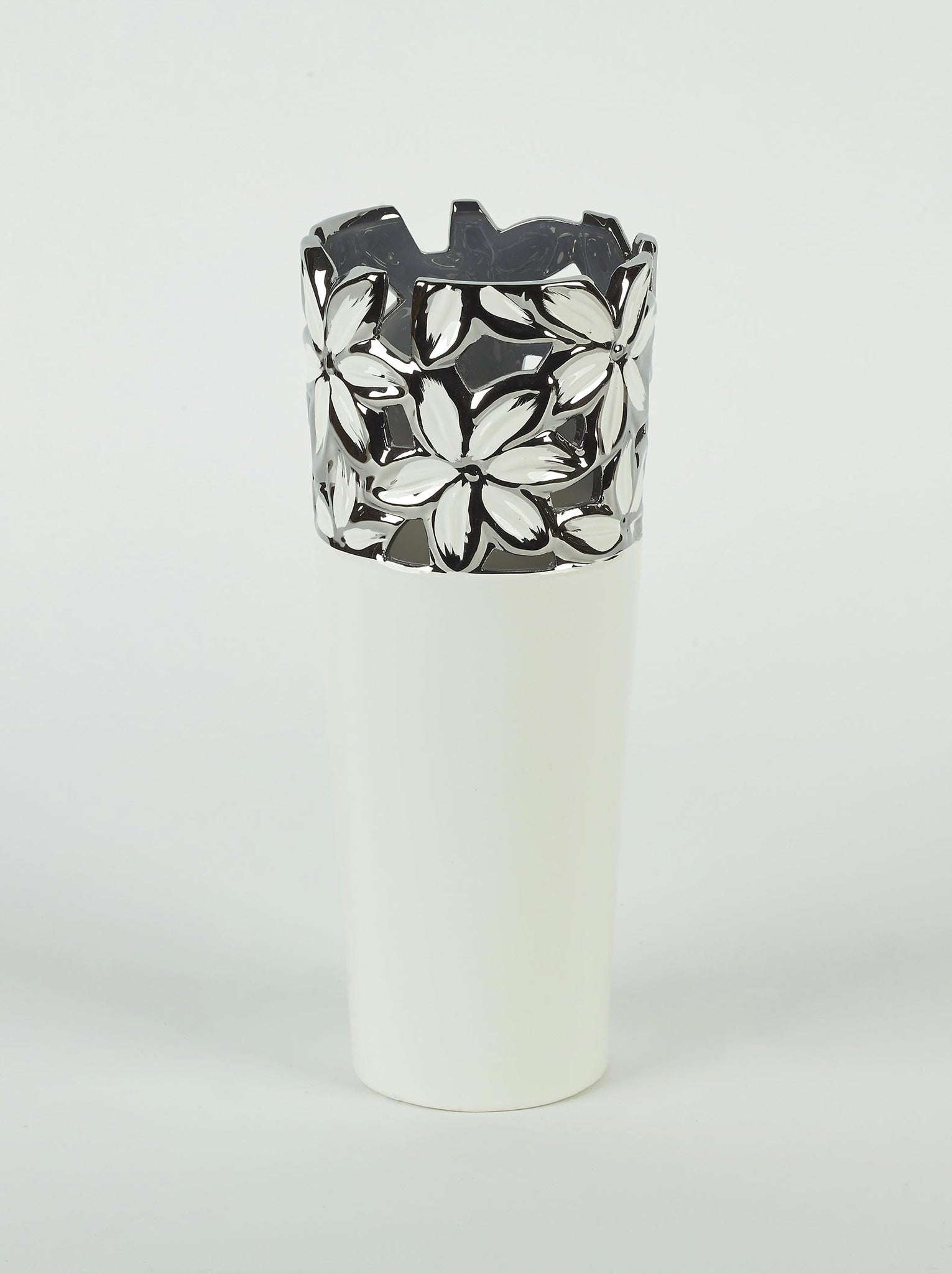 White Ceramic Vase with Silver Flower Design