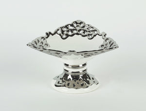 Ceramic Display Dish with Silver Design