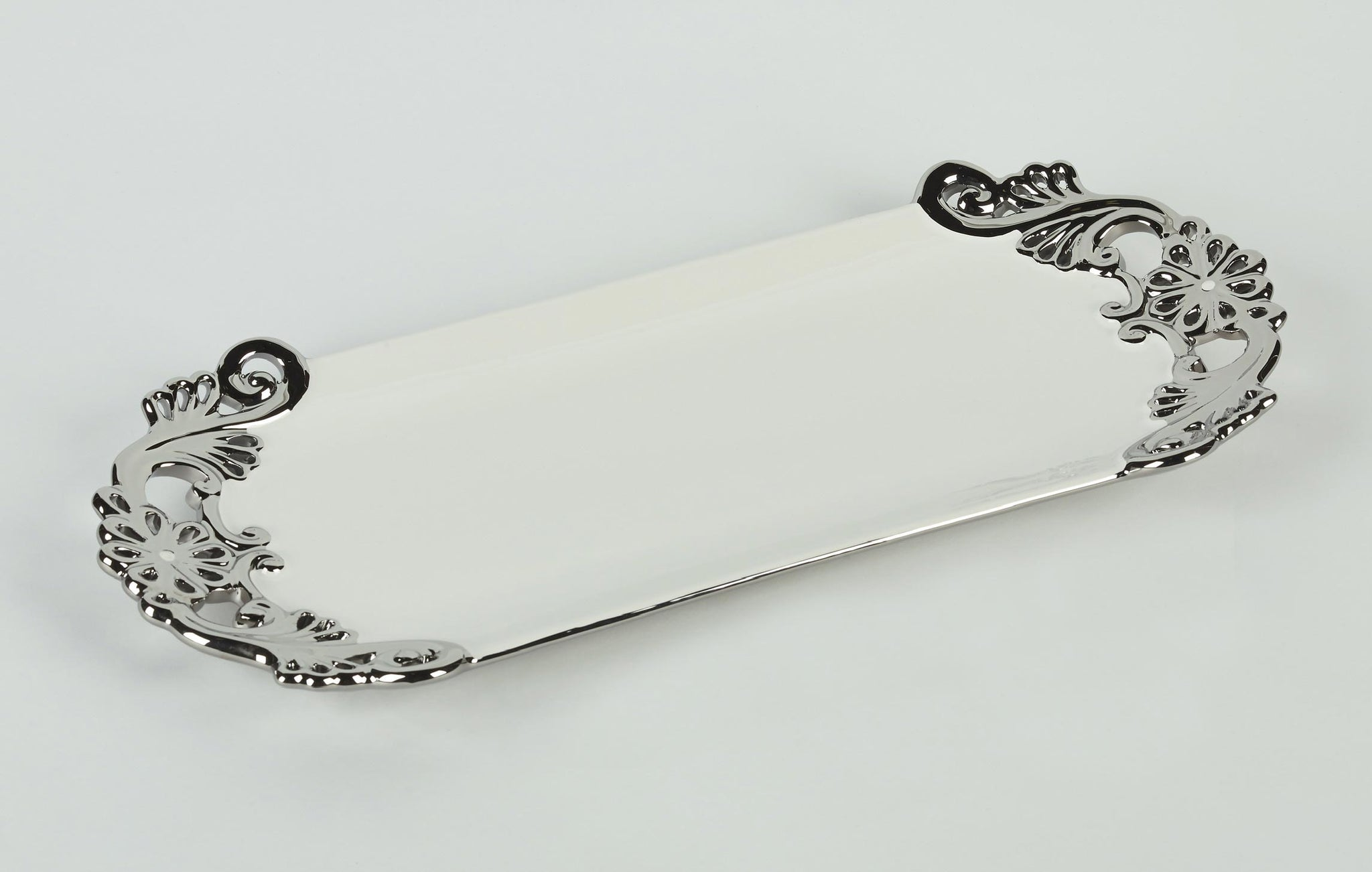 Ceramic Tray with Silver Side Design