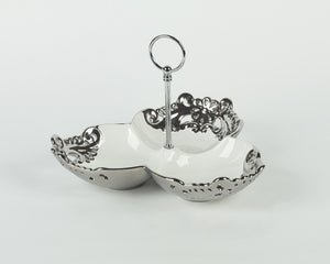SILVER CERAMIC 3 SECTIONAL BOWL