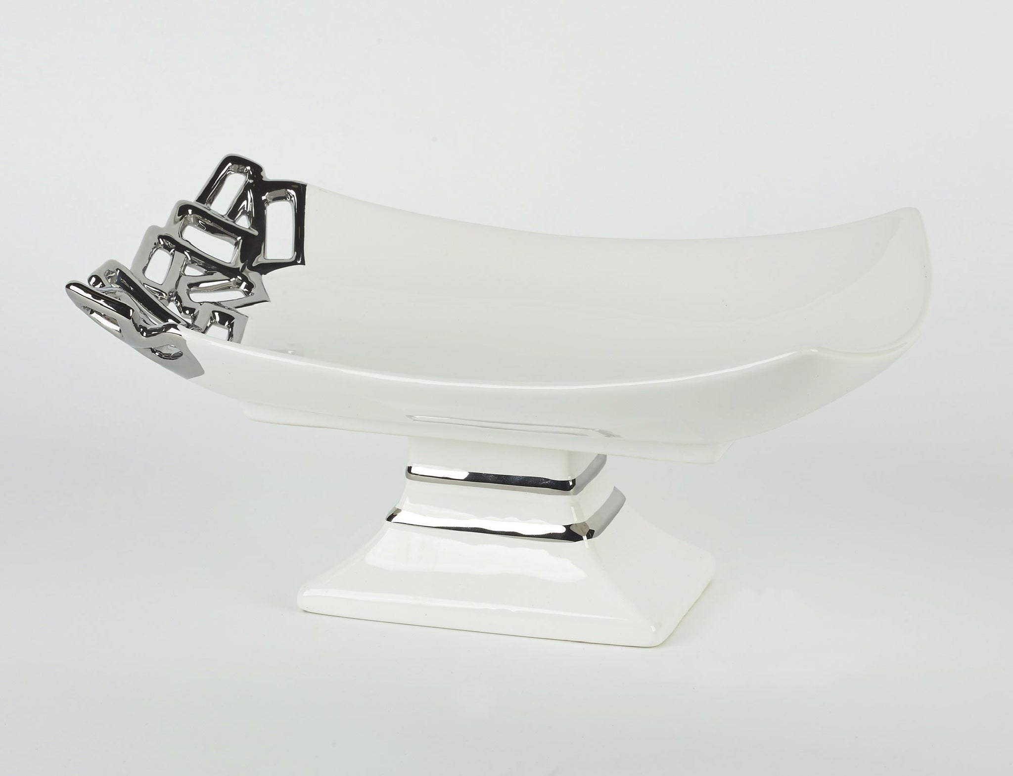 White Ceramic Serving Dish with Silver Edge