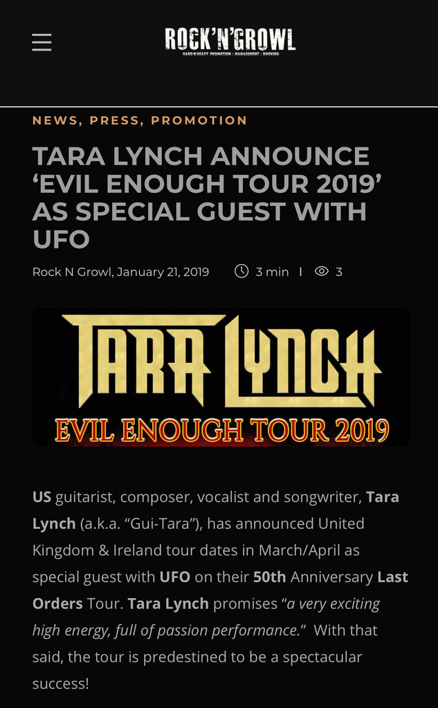 ROCK'N'GROWL: TARA LYNCH ANNOUNCE 'EVIL ENOUGH TOUR 2019' AS SPECIAL GUEST WITH UFO