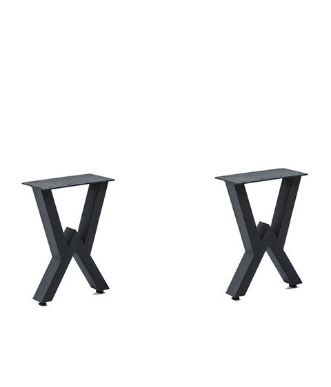 strong double-v black metal table base