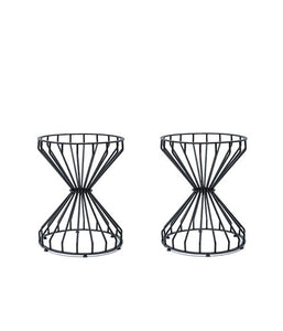 Hourglass shaped wire frame double table base
