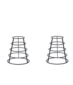 2 Cone shaped, wire hoop, metal table bases