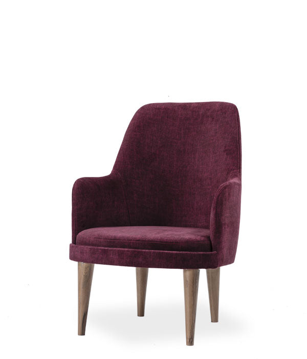 wine coloured, fabric covered armchair. Front view.