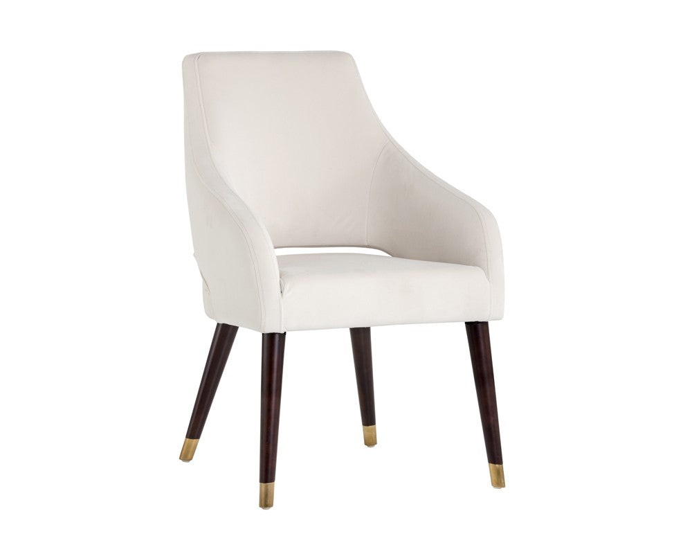 Adelaide Dining Chair - Antique Brass - Calico Cream Fabric