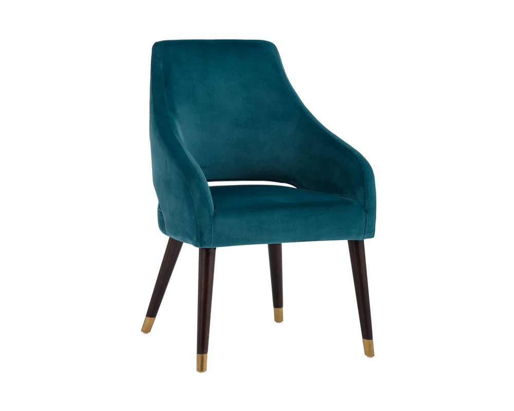 Adelaide Dining Chair - Antique Brass - Timeless Teal Fabric
