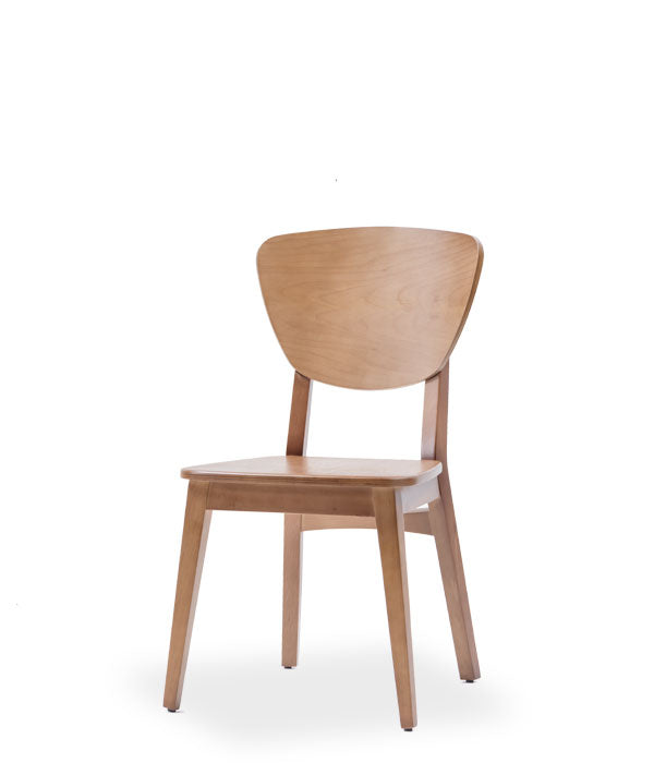 Wood dining chair with open back. Front view