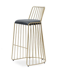 Modern, gold all wire frame bar stool with back. Black leather seat. Front 3/4 view.