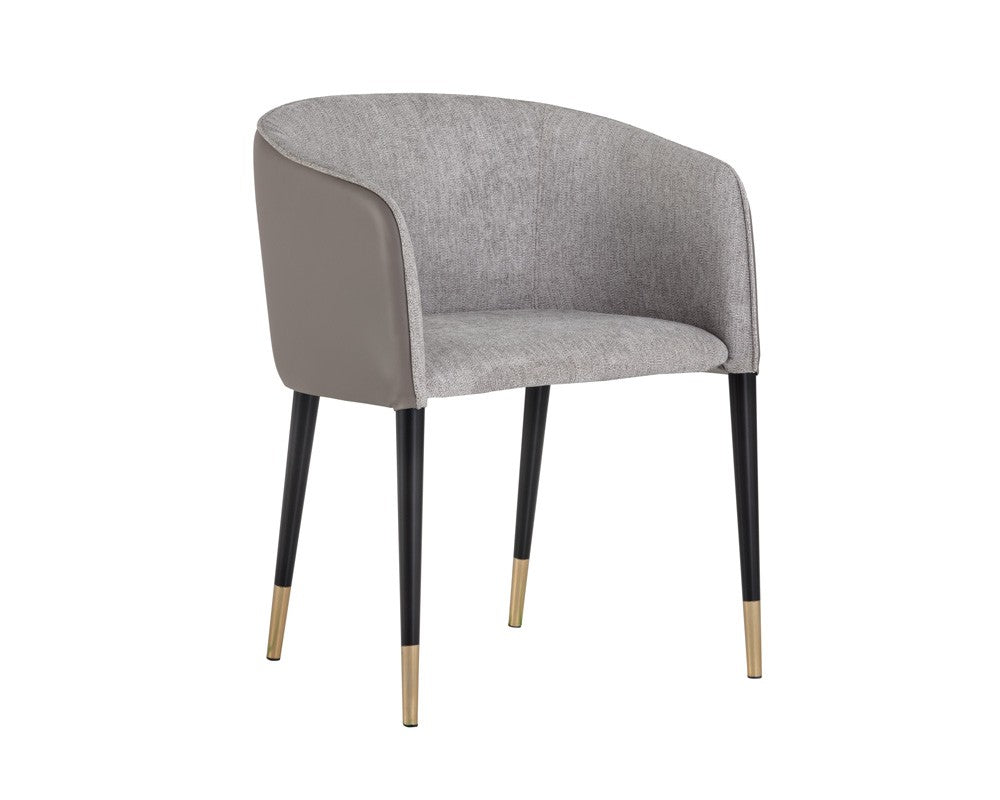 Asher Chair - Flint Grey Fabric - Napa Taupe Leather