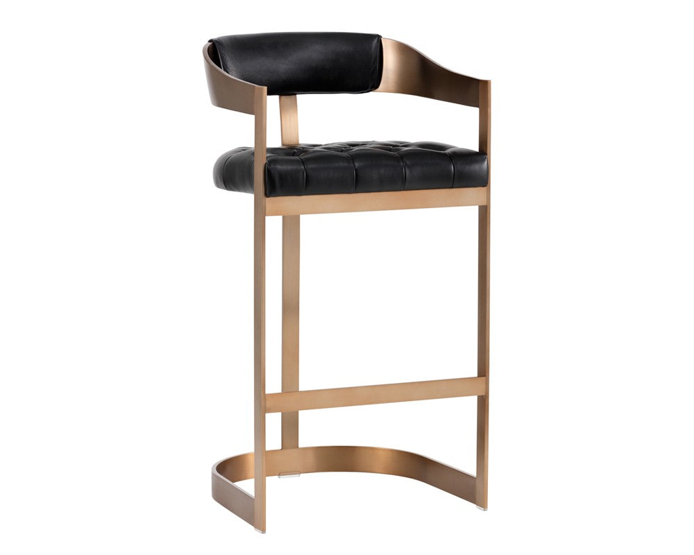 Beaumont Barstool - Antique Brass - Black Leather