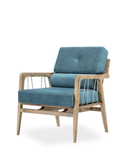 Wood framed lounge armchair with rustic cord details. Thick blue cushions on seat and back. Front 3/4 view.