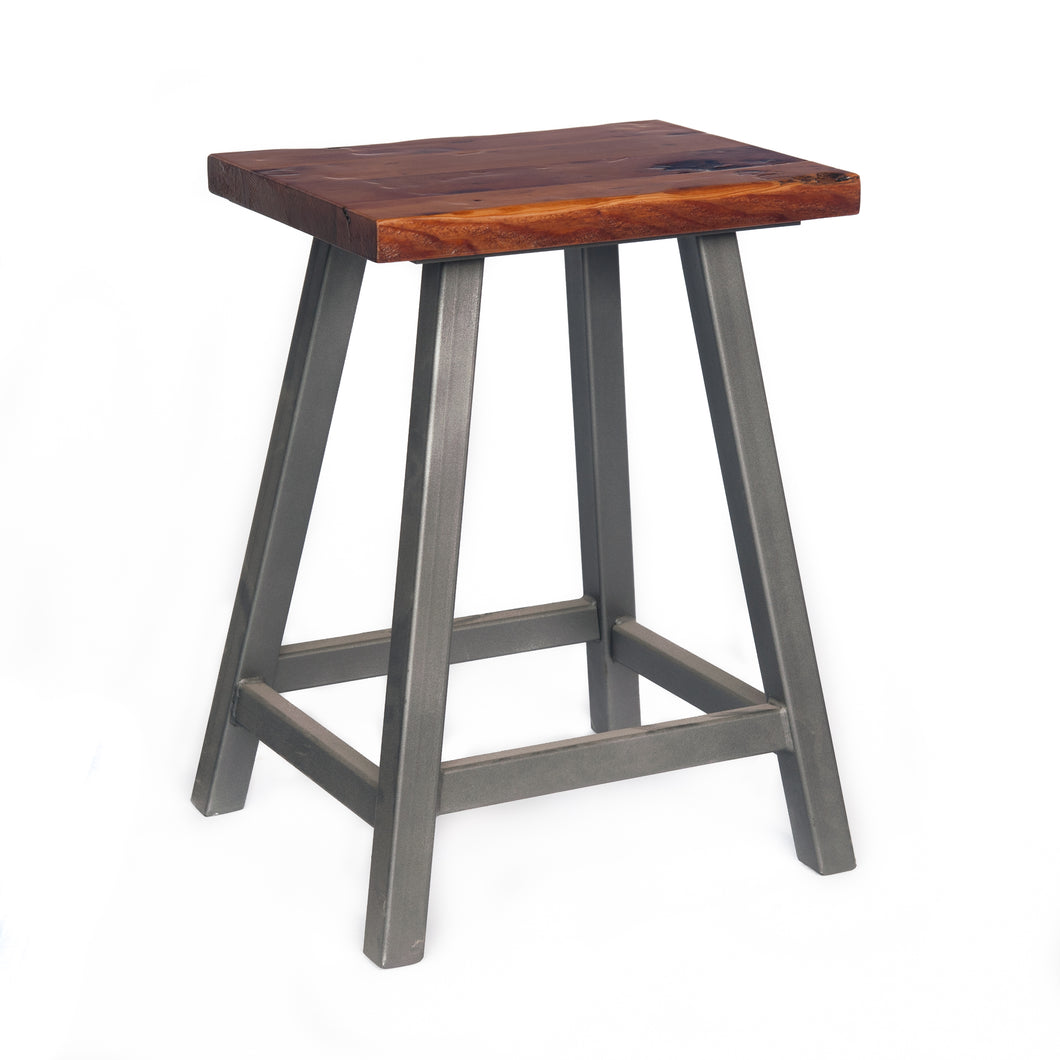 backless stool with wood seat and heavy welded steel frame.