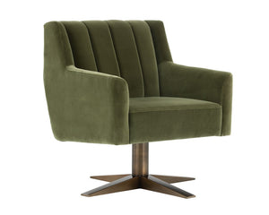 Central Park Swivel Chair - Antique Brass - Giotto Olive Fabric