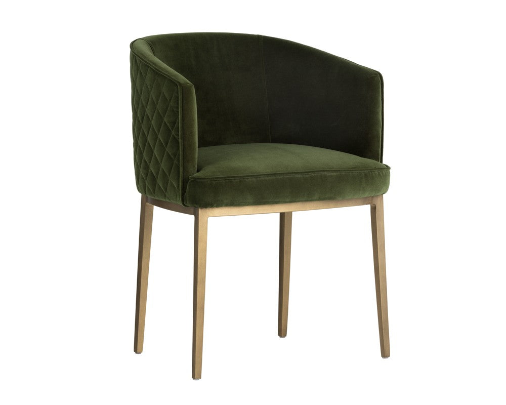 Cornella Dining Chair - Antique Brass - Forest Green Fabric