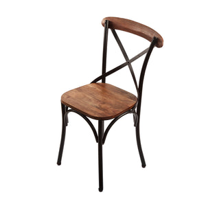 Classic cross back bistro chair. Black metal frame with wood seat and back rest. Front 3/4 view.