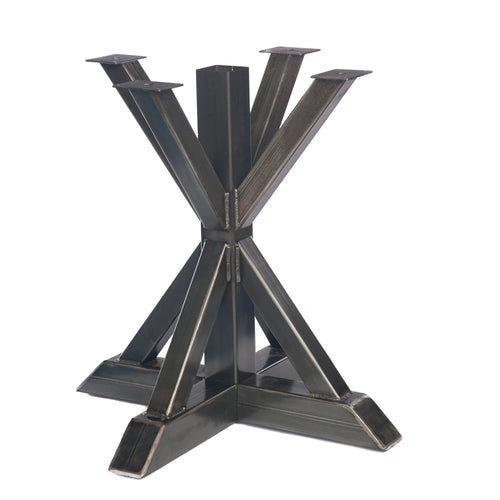 Welded steel X-pedestal table base with strong lines.
