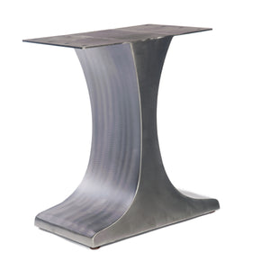 Welded steel I- shape pedestal table base with brushed metal finish.