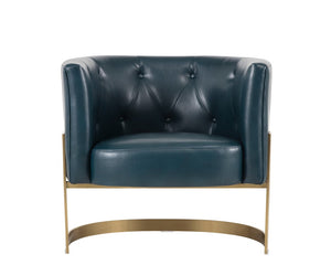 Karissa Club Chair - Brushed Yellow Gold - Blue Leather