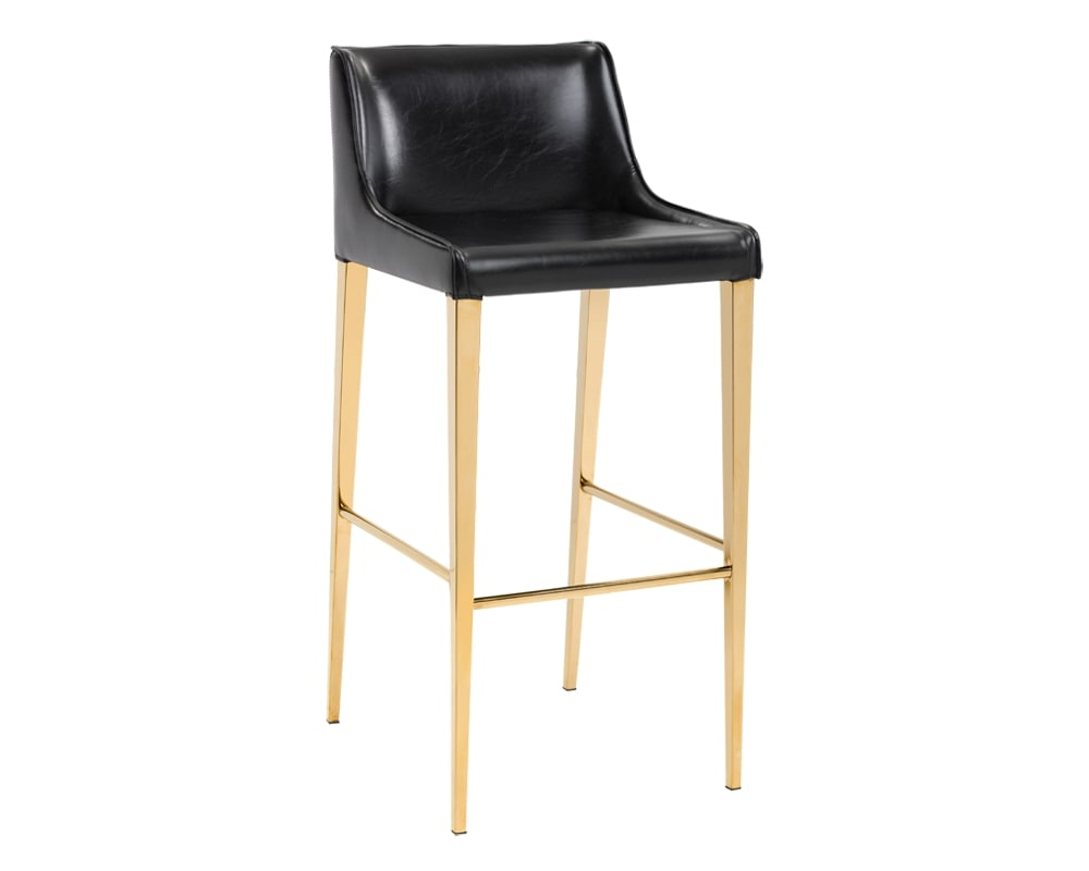 Lawrence Barstool - Yellow Gold - Osbidian Black