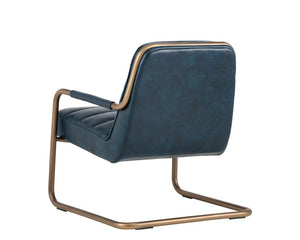 Lincoln Lounge Chair - Rustic Bronze - Vintage Blue