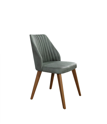 Fabic covered dining chair with vertical seam details in the chair back.