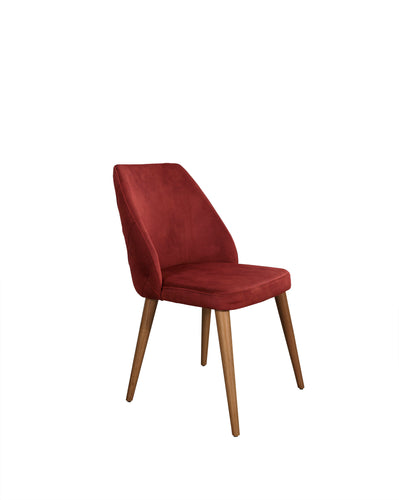 Fabic covered dining chair with tufted rear chair back.