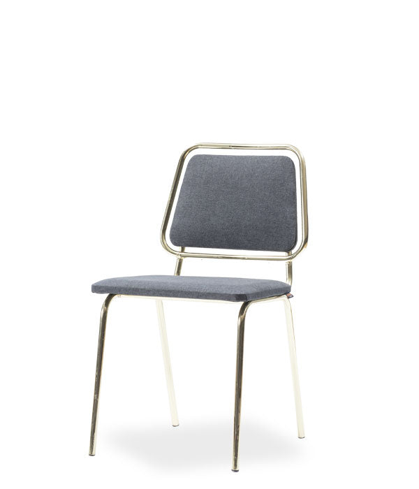 Chair with grey seat and back. Thin chrome frame and legs. Front 3/4 view.