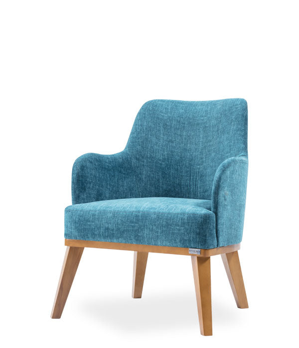 Large blue upholstered chair, curved back with arms and wood legs. Front 3/4 view.