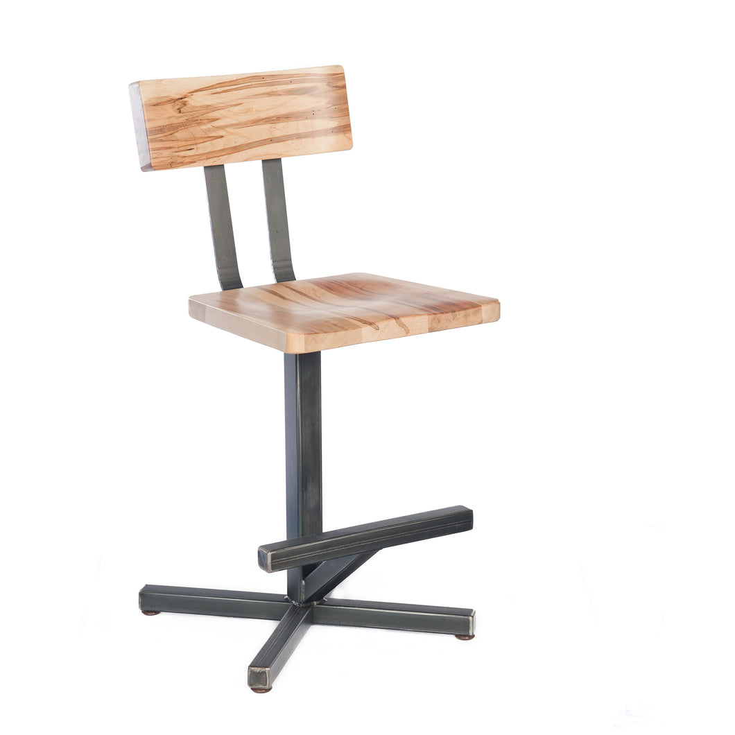Bar stool with natural Maple wood seat and back. Heavy welded steel frame and foot rest.