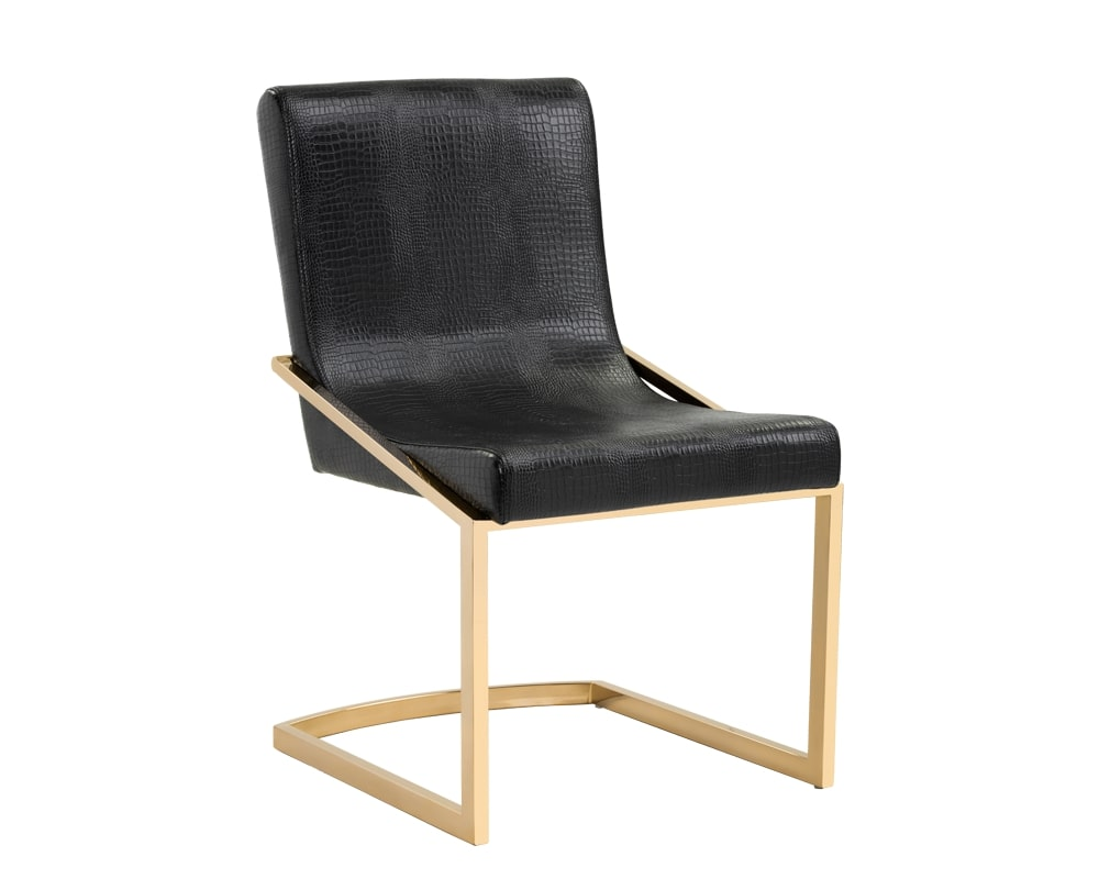 Marcelle Dining Chair - Yellow Gold - Black Croc
