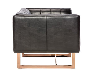 Matisse Armchair - Rose Gold - Black Leather