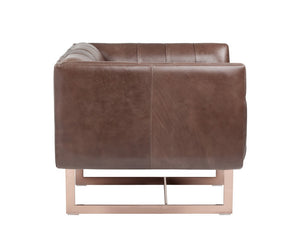 Matisse Armchair - Rose Gold - Saddle Leather