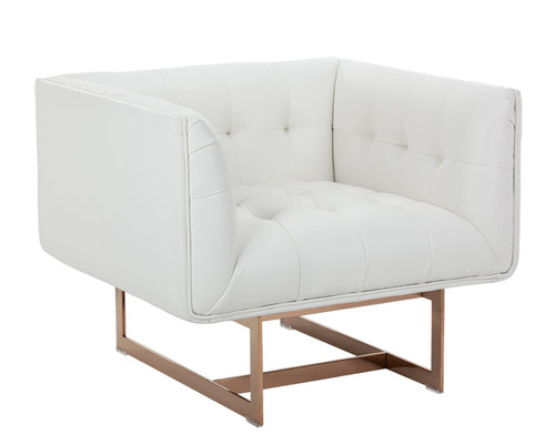 Matisse Armchair - Rose Gold - White Leather