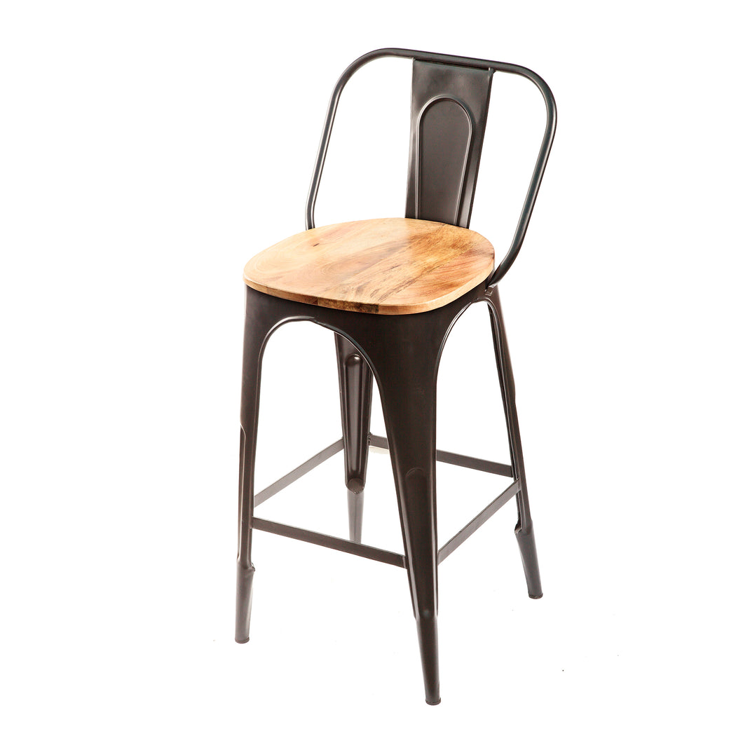 Light weight painted metal bar stool with light coloured wood seat. 3/4 view.