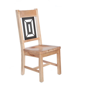 Solid light wood dining chair with an inset metal panel. 3/4 front view.