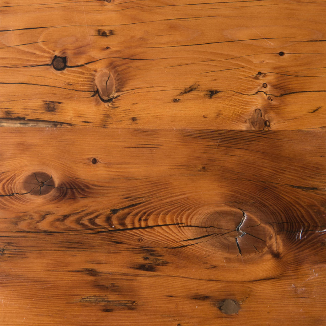 Swatch of epoxy sealed Reclaimed Hemlock wood for table tops. Top view.