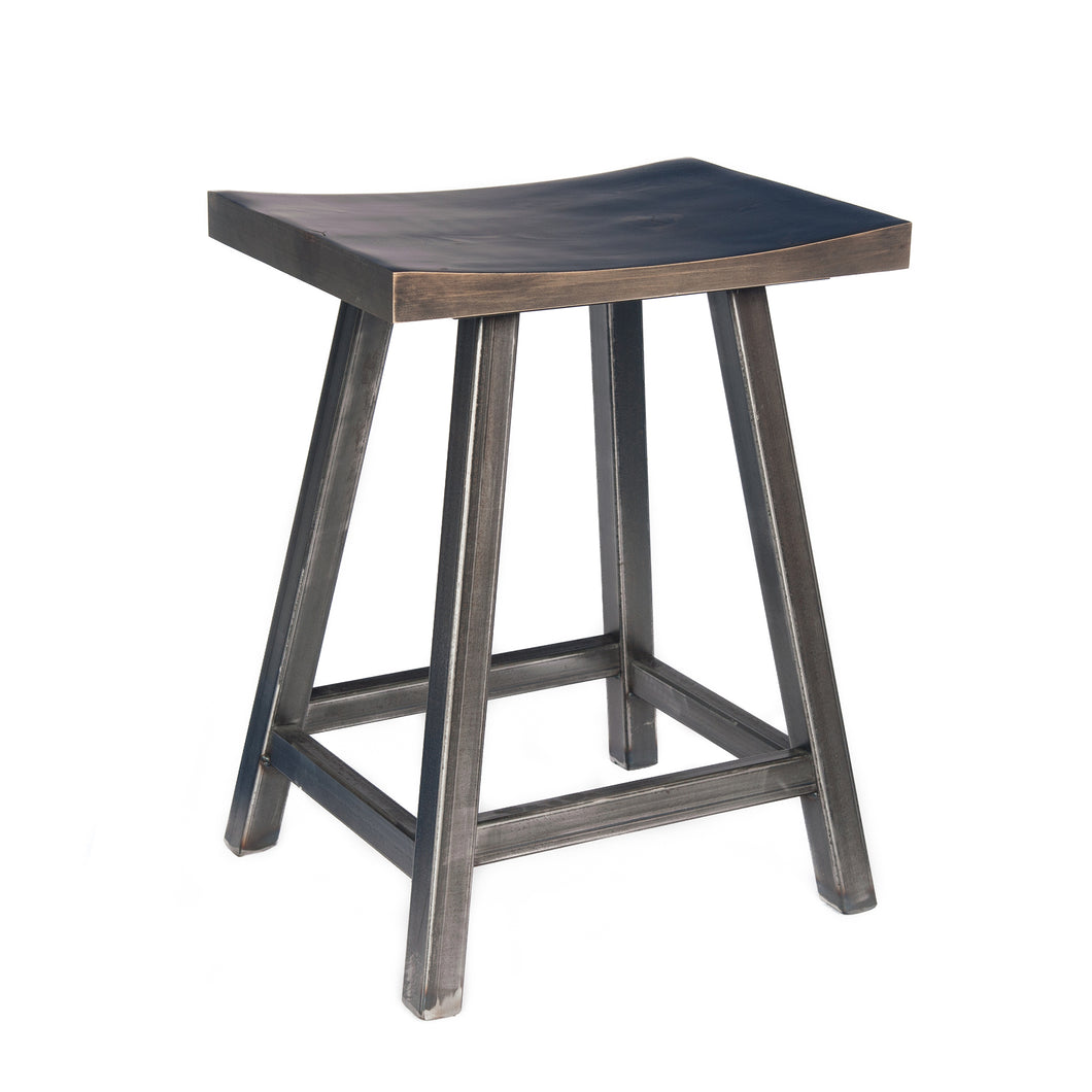 Backless stool with Reclaimed Hemlock wood seat and heavy welded steel frame.