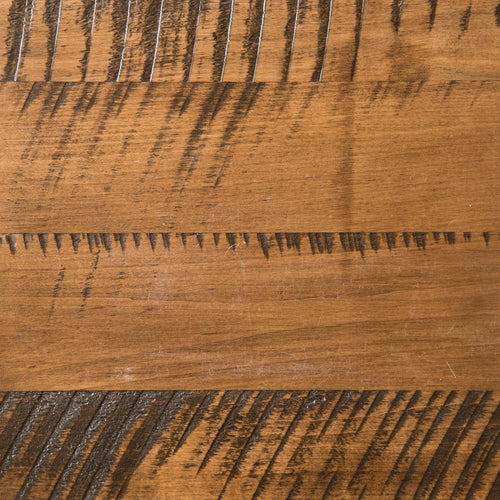 Swatch of Rough Sawn Maple wood for table tops with chestnut stain, top down view.