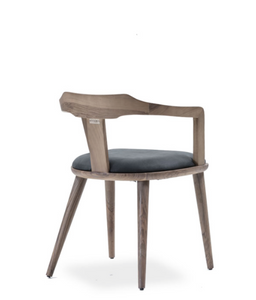 Grey stained wood armchair with fabric seat. Back 3/4 view.