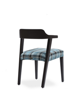 Half-arm dining armchair with a padded seat. Back 3/4 view.