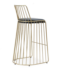Modern, gold all wire frame bar stool with back. Black leather seat. Back 3/4 view.