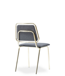 Chair with grey seat and back. Thin chrome frame and legs. Back 3/4 view.