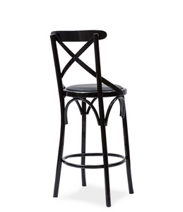 Cane look bar stool with cross-back detail and painted wood frame. Back 3/4 view.
