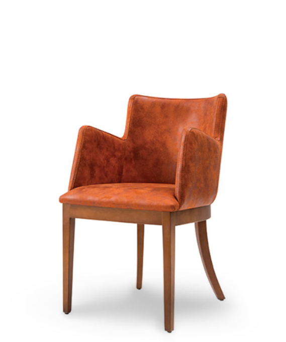 Short backed armchair with wood base and curved legs. Orange fabric and wood legs. Front 3/4 view.