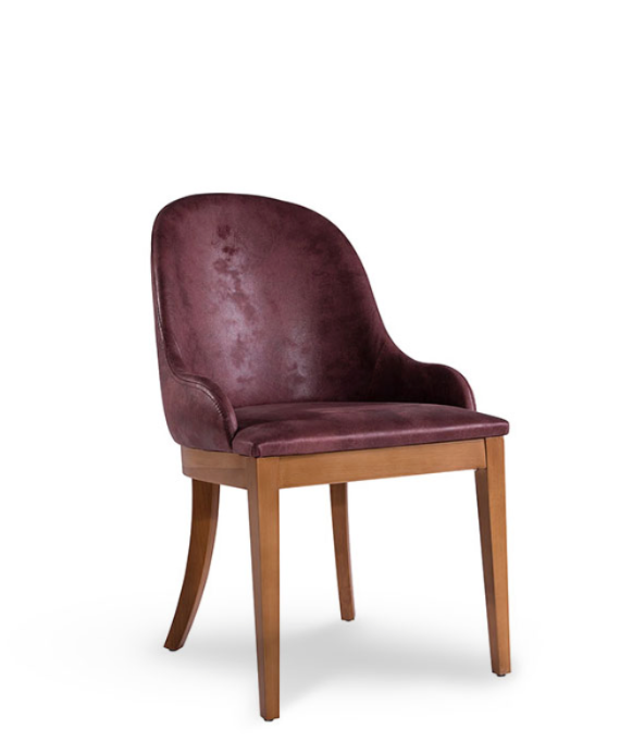 Red upholstered, horseshoe shaped back chair with curved back legs. Front 3/4 view.