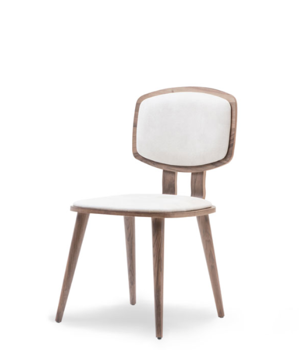 Wood dining chair with lozenge shaped, veneer wrapped back and white seat and back pads. Front 3/4 view.