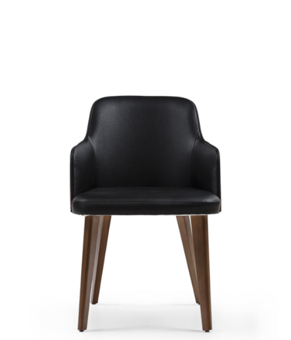 Black tub style armchair. Leather with dark wood legs. Front view.