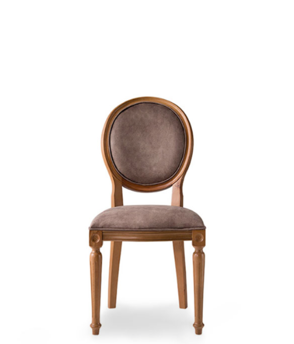 Traditional style dining chair with an oval back and carved wood frame and legs. Brown upholstery, front view.